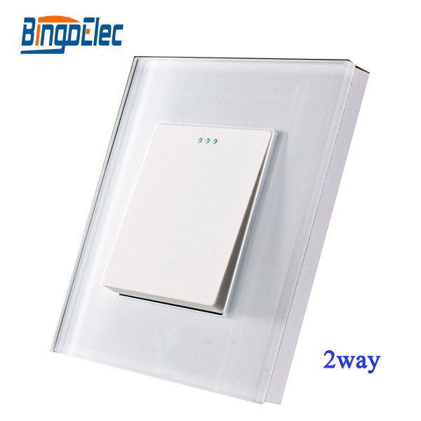 1gang 2way  button wall light switch, glass panel,EU/UK,Hot sale 2017 free shipping smart wall switch crystal glass panel switch us 2 gang remote control touch switch wall light switch for led
