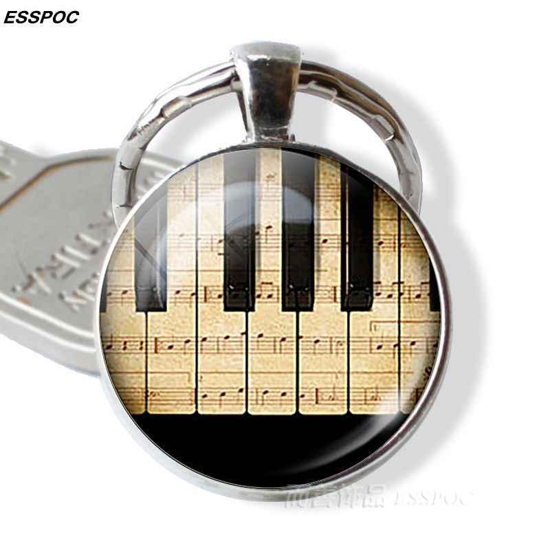 คีย์บอร์ดเปียโน Photo จี้ Key CHAIN VINTAGE เงินสีพวงกุญแจแฟชั่นเครื่องดนตรีจี้เครื่องประดับที่ดีที่สุดของขวัญ