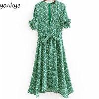 Boho Summer Dress Women Green Floral Print Dress Tie Cuffs Short Sleeve V Neck Sashes A line Midi Dress Casual DDOM8029