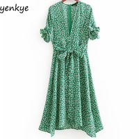 Boho Summer Dress 2018 Women Green Floral Print Dress Tie Cuffs Short Sleeve V Neck Sashes A line Midi Dress Casual DDOM8029