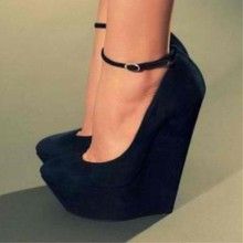 SHOFOO shofoo,Elegant fashion, suede, about 4.5 cm waterproof height, 14.5 cm wedge heel