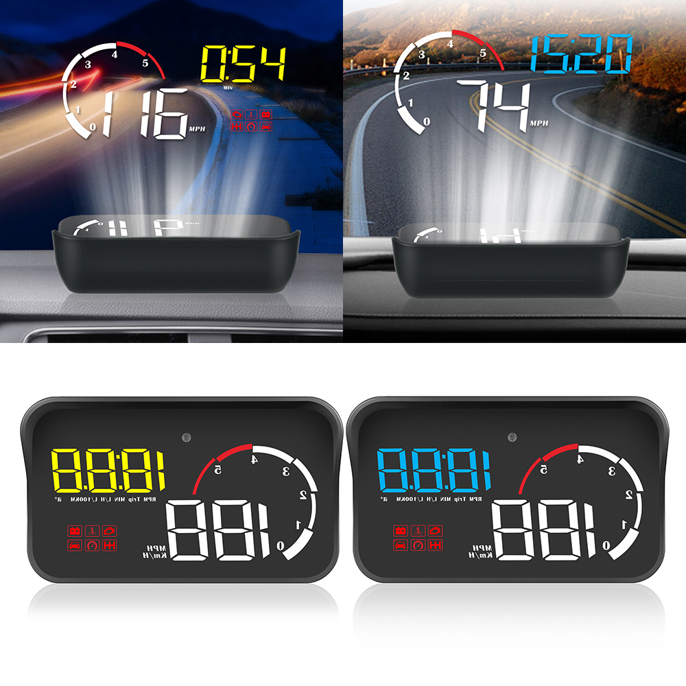 LEEPEE Intelligent Alarm System Universal OBD2 Overspeed Warning Car HUD Display Multifunction M10 A100 Windshield Projector
