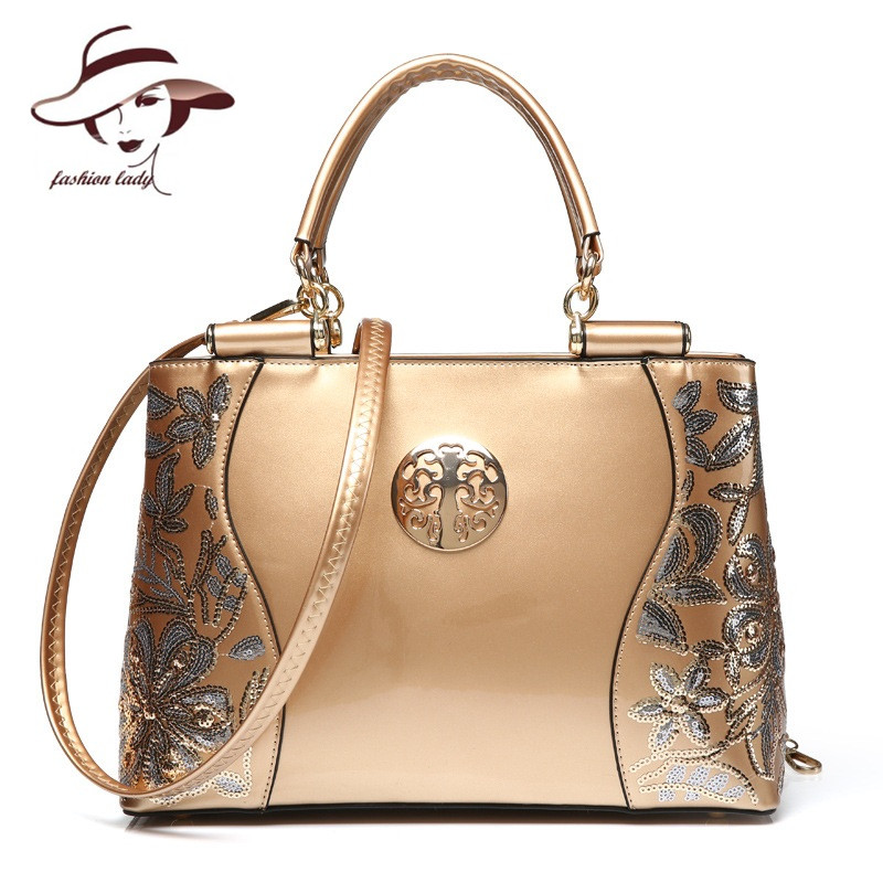 New Luxury Europe Fashion Women Bag Embroidery Sequined Chains Patent Leather Famous Brand Shoulder Handbag Ladies Messenger Ba patent leather handbag shoulder bag for women