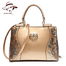 New Luxury Europe Fashion Women Bag Embroidery Sequined Chains Patent Leather Famous Brand Shoulder Handbag Ladies Messenger Ba