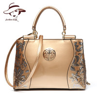 New Luxury Europe Fashion Women Bag Embroidery Sequined Chains Patent Leather Famous Brand Shoulder Handbag