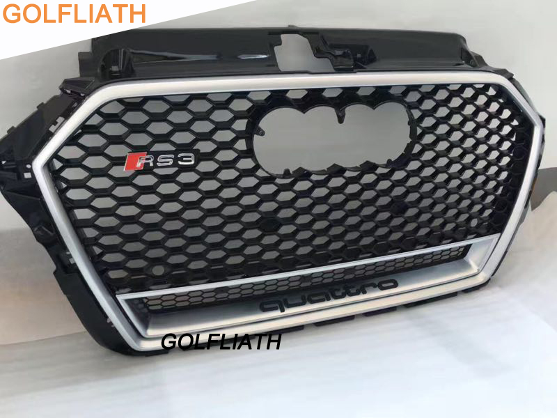 GOLFLIATH A3 RS3 Styling Grille ABS Auto Car Front Mesh Grills For Audi A3 S3 RS3 2016-2017