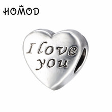 SPINNER Words Of Love Engraved Heart Charm Beads Fit Pandora Charm Bracelet&Bangle for Women DIY Jewelry Accessories(China)