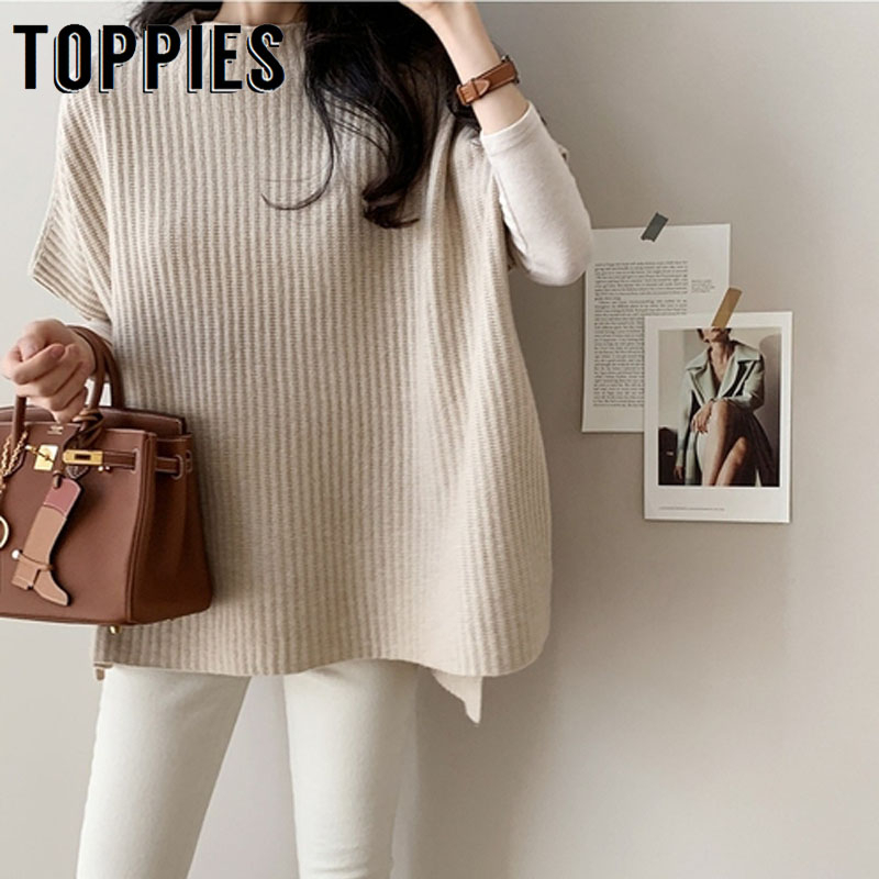 2019 Women Sweater Cloak Loose Knitted Jacket Short Sleeve Pullover Sweater Poncho Korean Female Jumper
