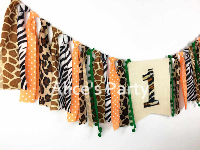 d98f0e25b ... New Safari Jungle Birthday Highchair Banner Garland 1st 2nd 3rd Party  Decorations Zoo Cake Smash Animals