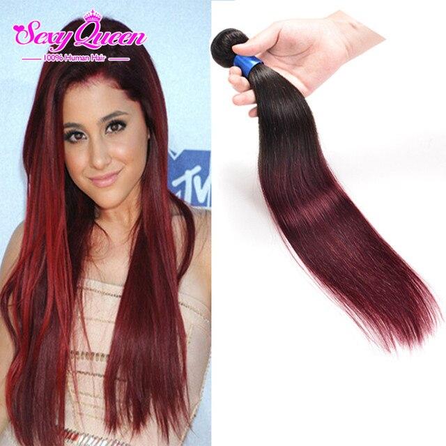 Mocha Malaysian Ombre Straight Hair Two Tone 1b Burgundy Human Hair