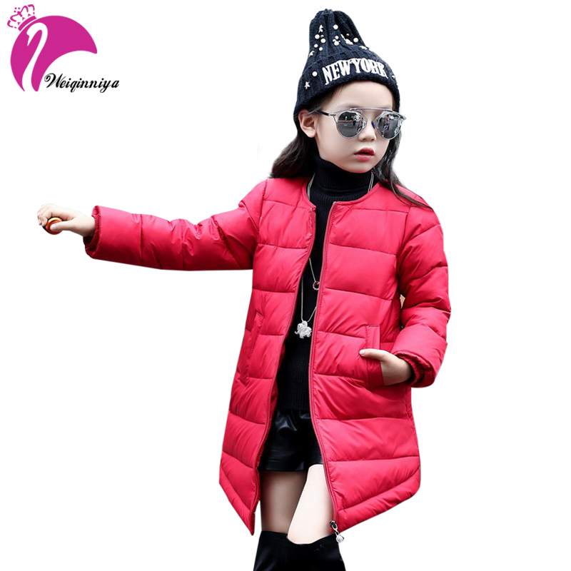 Children Girls Winter Parka Coat New 2017 Fashion Long Thick Duck Down Warm Kids Clothes Casual Solid Cotton Jacket Outwears