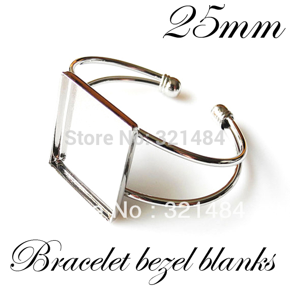100pcs Silver Plated Br Metal Cuff Bracelet Blanks W 25mm Square Caps Bezels Cameo Cabochon Setting Whole In Jewelry Findings Components From