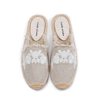 Pantufa-Zapatos De verano para Mujer, sandalias femeninas De tela De algodón, en promoción, toboganes De goma De cáñamo con flores