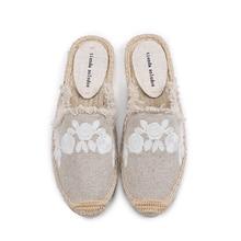 Pantufa kadın ayakkabı Tienda Soludos terlik pamuklu kumaş satış promosyonu kenevir kauçuk yaz slaytlar Zapatos De Mujer çiçek