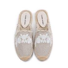 أحذية نسائية من Pantufa شباشب من نسيج القطن للبيع قماش القنب المطاطي للصيف Zapatos De Mujer منقوش عليه زهور