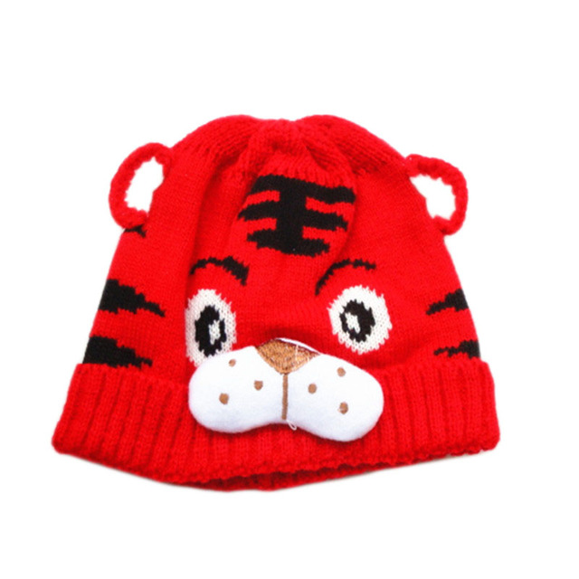 Fashion Herbst Winter Kinder Strickmütze Tier Tiger Muster Beanie ...