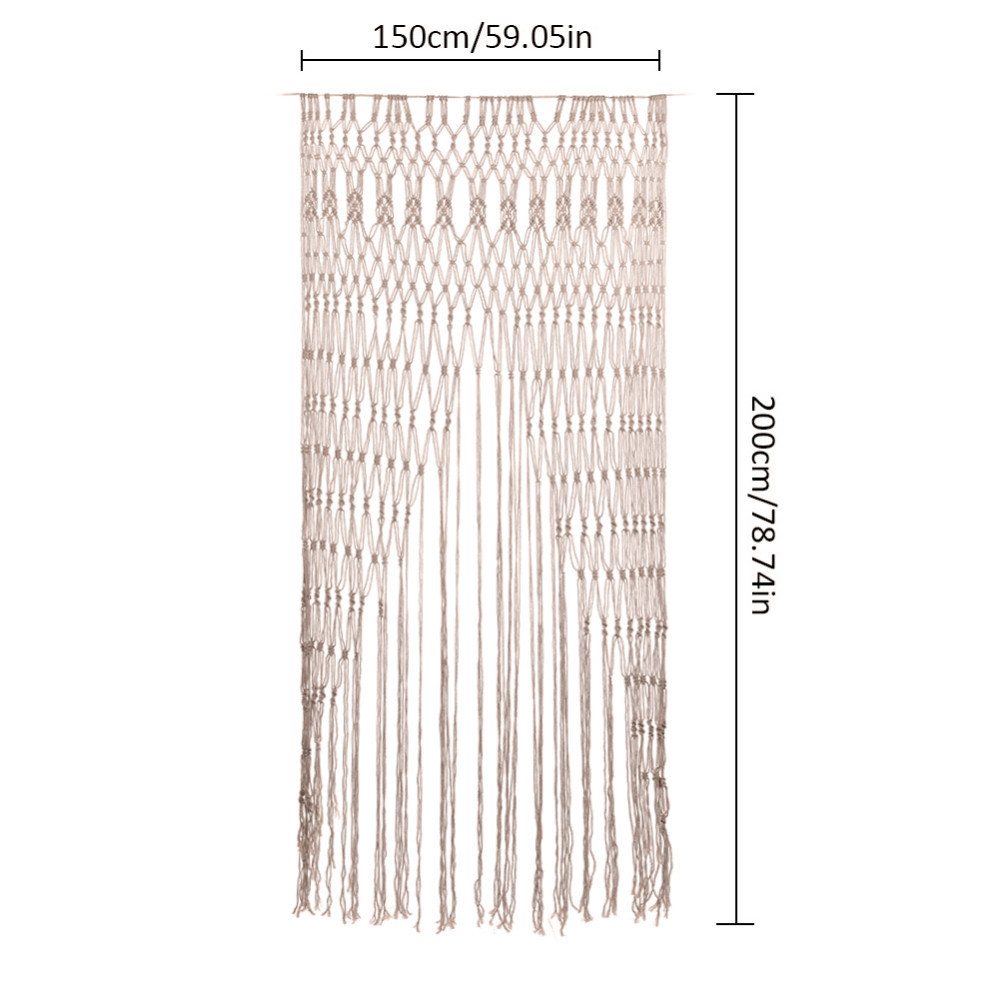 Hanging Bohemian Macrame Woven Handmade Tapestry Wedding Background Door Curtain Home Decoration Craft Wedding Gift Beige 200cm