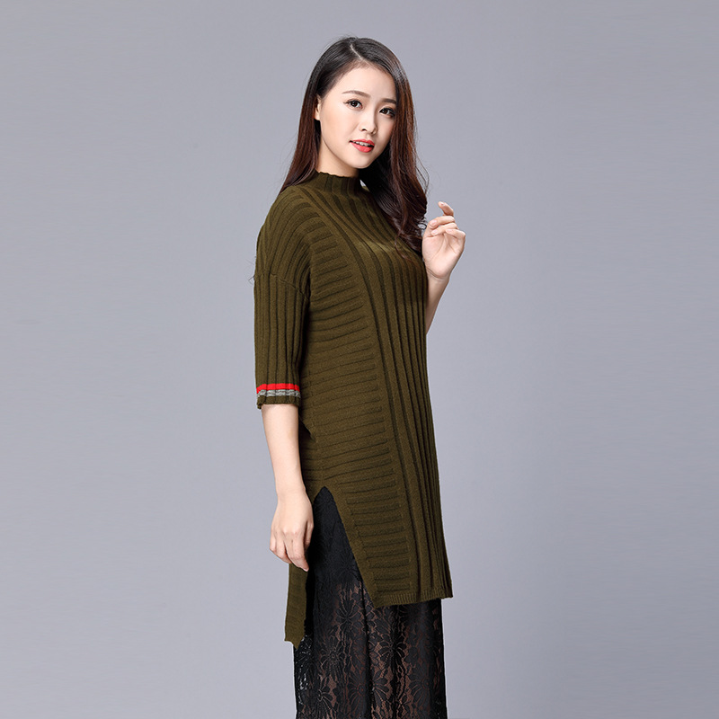 Danjeaner Pull à col roulé haute fente tricot automne hiver demi manches 2018 Pull femmes Pull Femme Streetwear Pull doux