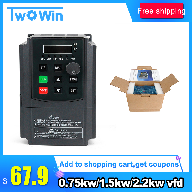 New 0 75KW 1 5KW 2 2KW inverter VFD 220V VARIABLE FREQUENCY DRIVE INVERTER single phase