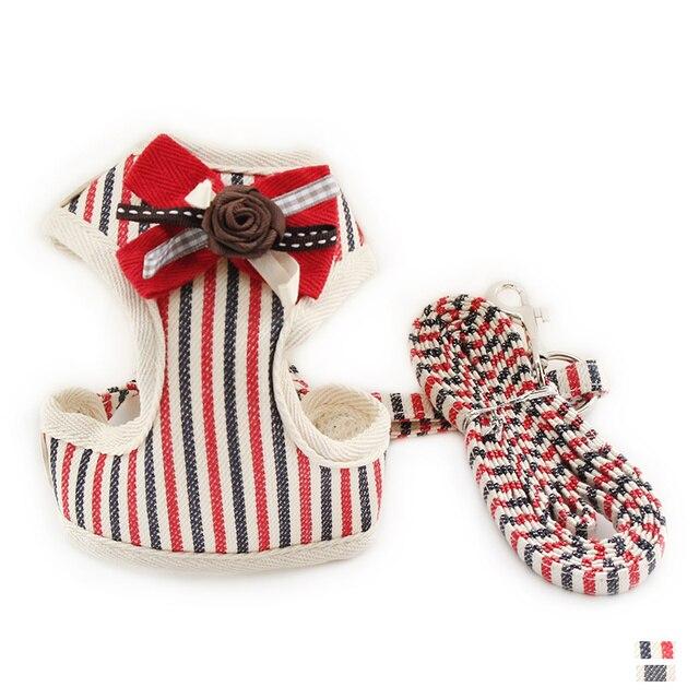Модные Полосатые жилет ткань нагрудный ремень маленькая собака кошка Холтер жгут Ведущий 6044025 Pet Puppy поводок поставки размеры s m l xl