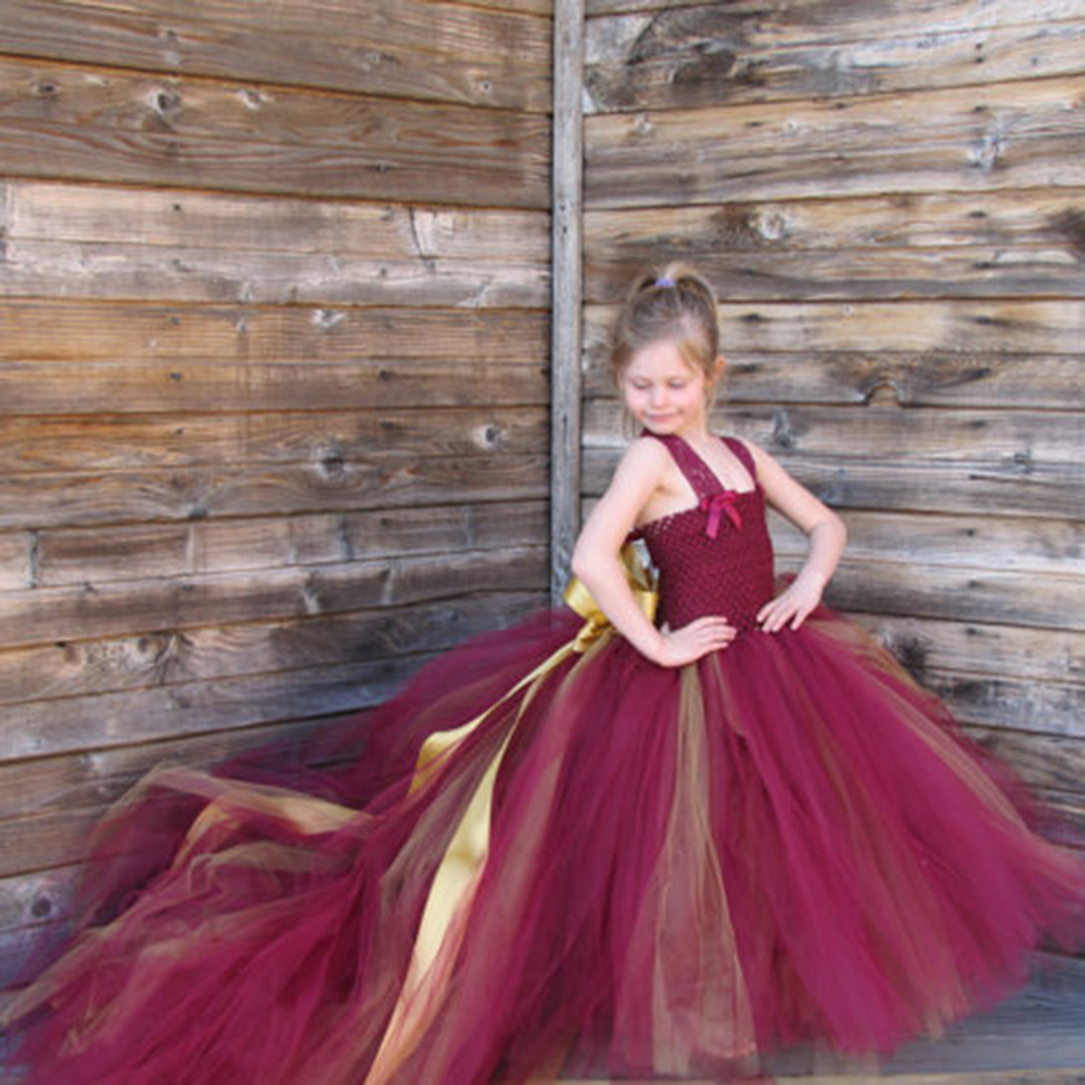 Burgundy Flower Girl Dresses With Train Tulle Princess -1301