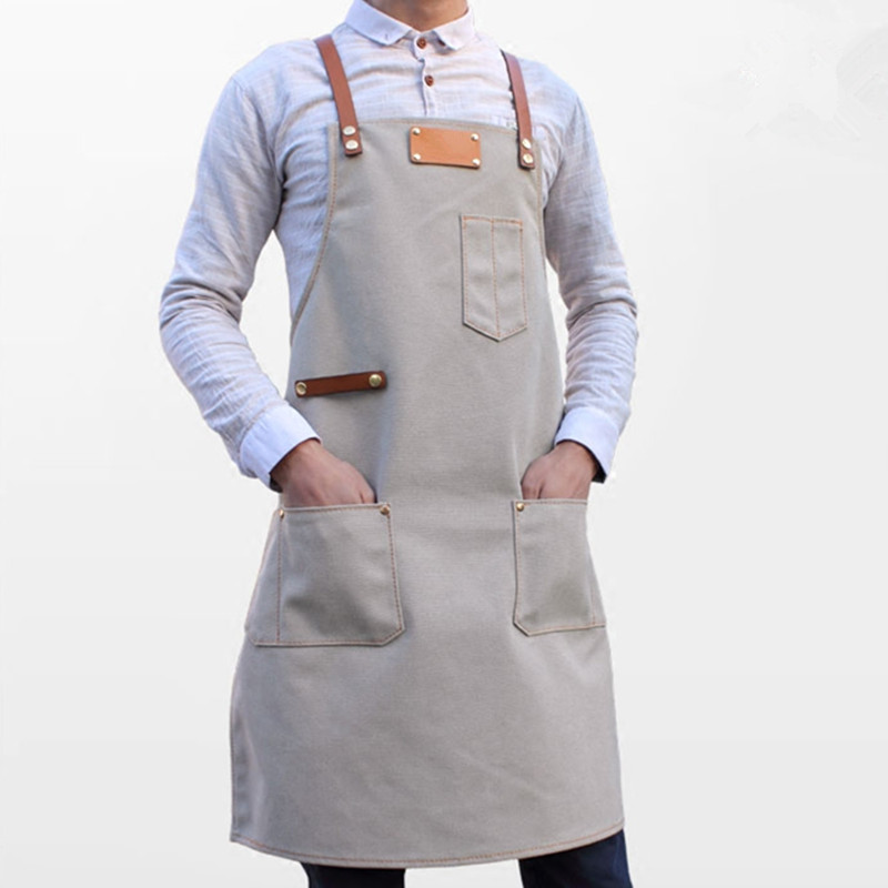 Gray Canvas Apron Cowhide Leather Strap Barista Bartender BBQ Pastry Chef Waitstaff Uniform Barber Florist Painter Work Wear B50