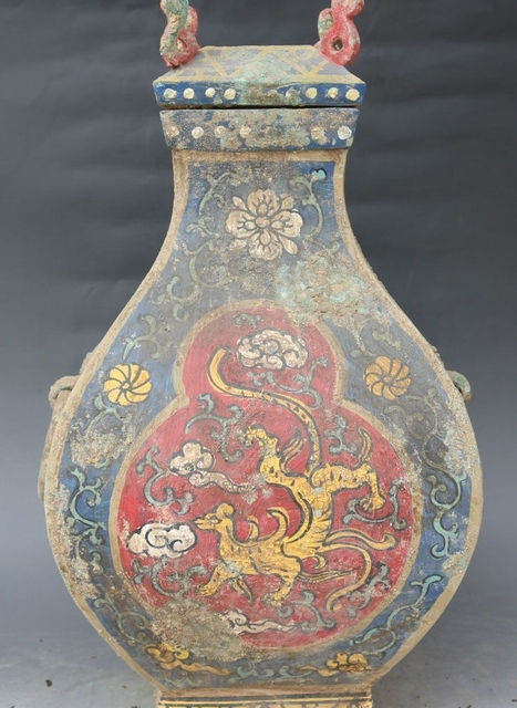 Free Shipping 17 Antique Chinese Bronze Painting Palace Dragon
