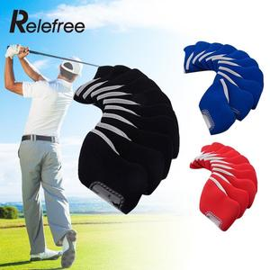 Relefree 10 Pcs Neoprene Golf Club Iron Headcovers Protective Head Cover Protector Set Golf accessories Golf posture training