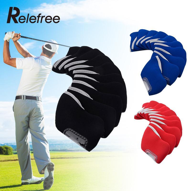 Relefree 10 Pcs Neoprene Golf Club Iron Headcovers Protective Head Cover Protector Set Golf Accessories