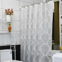 White PEVA Shower Curtains Flower Print Waterproof Bath Curtain Bathroom Product With Hooks