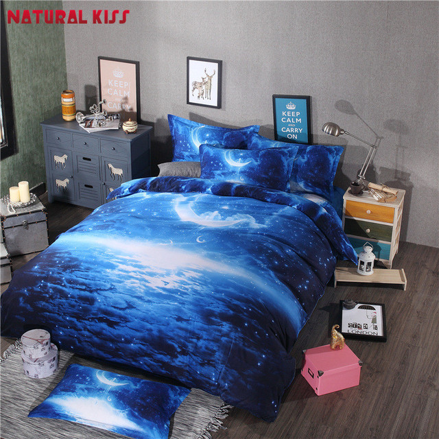 2016 Hot 3D Galaxy Bedding Sets Universe Outer Space Themed Bedspread 4pcs  Twin/Queen Size