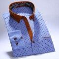 2017 Primavera Jovem dos homens Camisas de Vestido de Manga Longa de Veludo Patchwork Collar fit Conforto Macio Algodão Botão Para Baixo Camisas Ocasionais