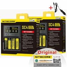 NITECORE SC4 지능형 고속 충전 슈퍼 충전기 4 슬롯 6A IMR 18650 14450 16340 AA 배터리 + 자동차 충전 D5 용 총 출력