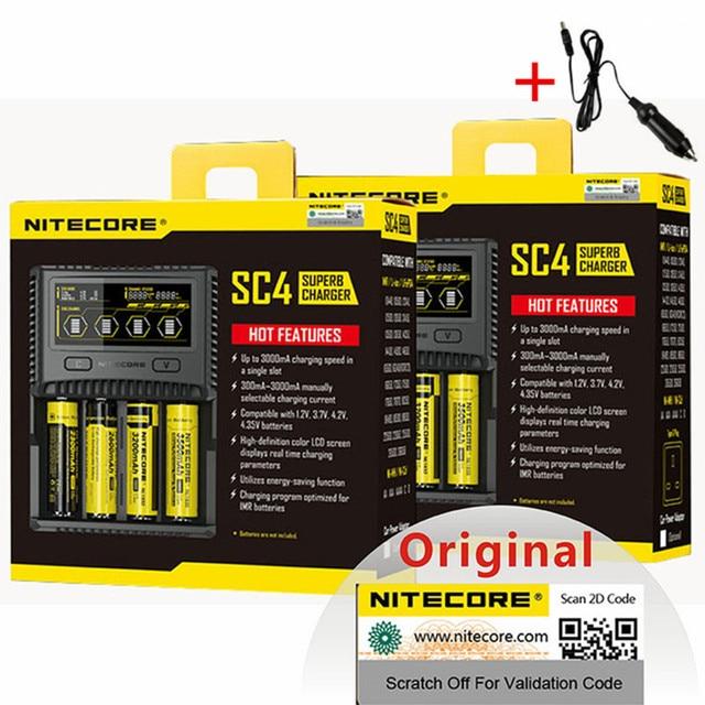NITECORE SC4 akıllı hızlı şarj süper şarj cihazı 4 yuvaları 6A toplam çıkış IMR 18650 14450 16340 AA pil + araç şarj cihazı D5