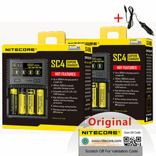 NITECORE SC4 chargeur Intelligent plus rapide 4 emplacements 6A sortie totale pour IMR 18650 14450 16340 AA batterie + voiture Charg D5