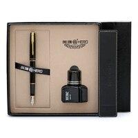 Gold Arrow Clip Black Fountain Pen Ink Gift Set 0.5mm Iridium Nib High end Business Office Gift Pens Writing Stationery