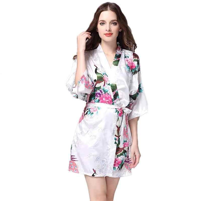9ef1877970 Plus Size 3XL White Women Nightgown Bride Bridesmaid Wedding Flower Robe  Female Satin Kimono Gown Summer