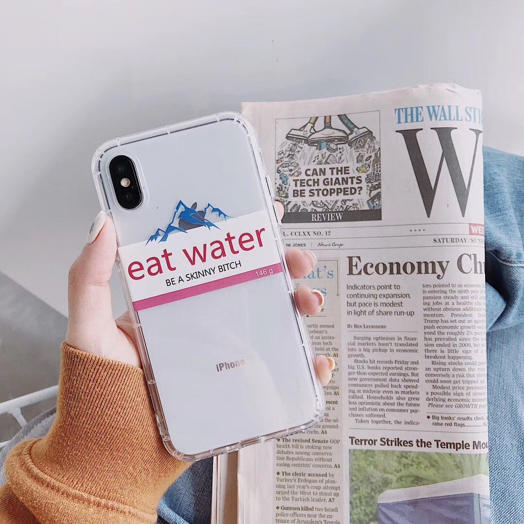 finest selection efb4e c9616 Funny retro pattern Evian water personality mountain phone case For iphone  Xs MAX XR X 6 6s 7 8 plus simple soft TPU back cover