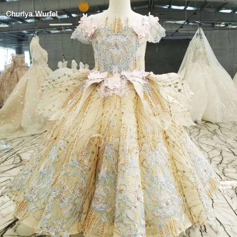 HTL0547 luxury communion   dress   golden bead ball   dress   gown   flower     girls   pageant   dresses   vestidos primera comunion ni as 2019