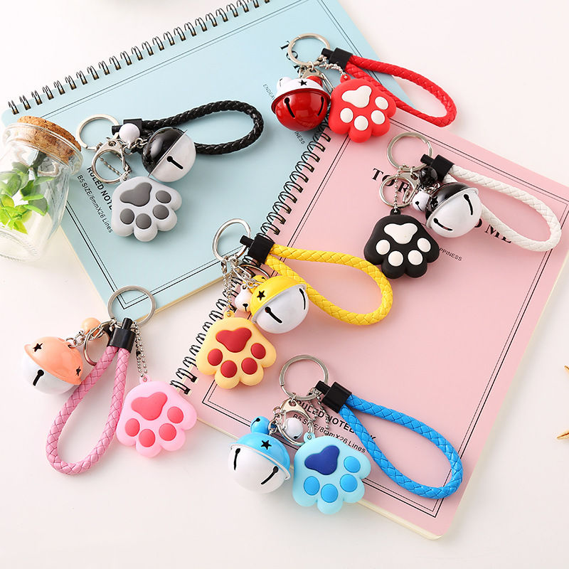 PACGOTH 2018 New Creative Metal Keychain Kawaii Mini Soft Silcone Gel Cats Paw Shape Bag Parts & Accessories Bell Keyrings 1 PC