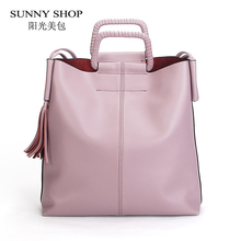 SUNNY SHOP Berühmte Marke Designer Luxus Echtes Leder Taschen Fashion Amerikanischen OL Leder Frauen Schultertasche Handtaschen