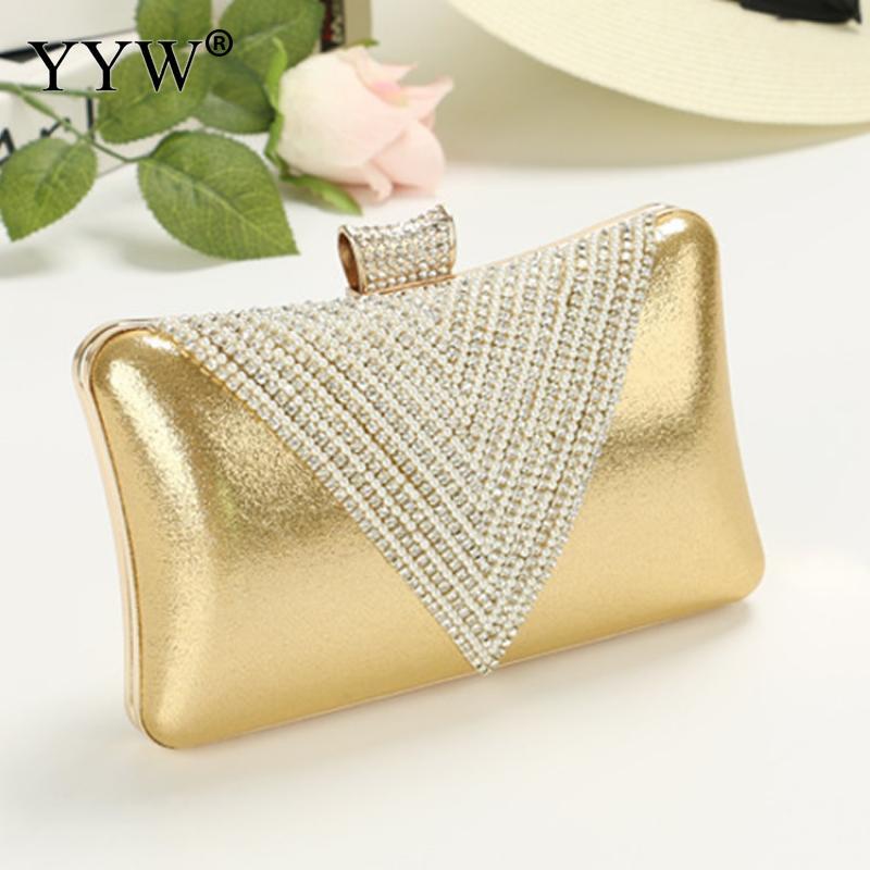 Women Gold Clutch Bag Mini Handbag Purse Rhinestone Evening Night Party Bags Clutches Female Silver Hand Bag White Wedding Bag
