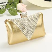 Women Gold Clutch Bag Mini Handbag Purse Rhinestone Evening night Party Bags clutches Female silver hand bag white Wedding bag