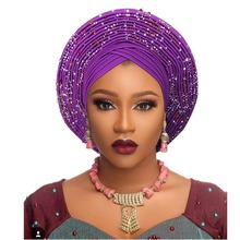 أغطية رأس أفريقية تقليدية أغطية رأس أفريقية للنساء ربطات رأس نيجيرية gele عمامة مصنوعة بالفعل لربطات رأس aso oke gele