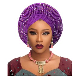 Tradicional africano cabeza envuelve sombrero africano diadema para mujer nigeriana gele turbante diadema ya hecho aso oke gele diadema