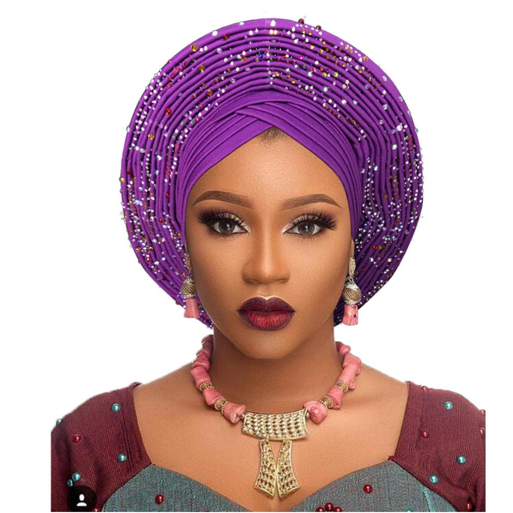 Traditional African Head Wraps African Hat Headtie For Woman Nigerian Gele Turban Headband Already Made Aso Oke Gele Headtie
