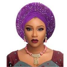 แบบดั้งเดิมแอฟริกันหัว wraps แอฟริกันหมวก headtie สำหรับผู้หญิงไนจีเรีย Gele turban แถบคาดศีรษะแล้ว Made Aso Oke Gele headtie