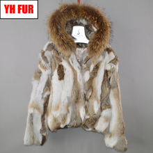 Brand Hot Sale Women Genuine Real Rabbit Fur Coat Lady Winter Warm Real Rabbit Fur Jacket Natural Color Real Rabbit Fur Overcoat