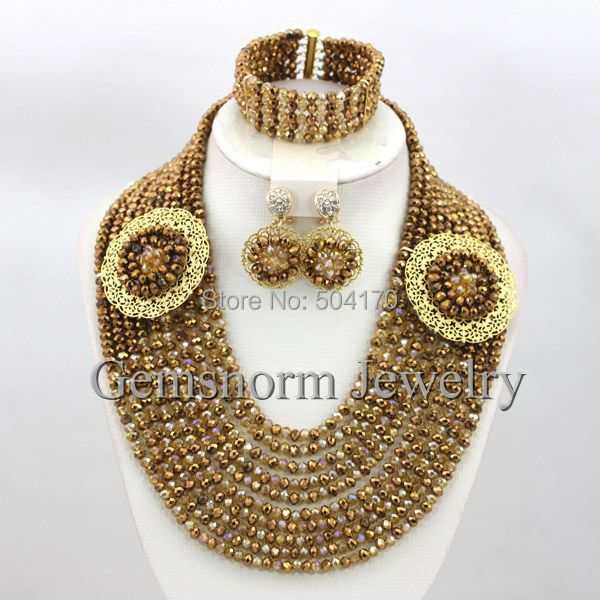 Unique Coffee Gold African Beads Bridal Jewelry Set Fashion Nigerian Wedding Bead 2017 New Free