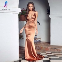 Sexy Brown Silk Prom Dresses Long 2019 Formal Gowns Backless Dress MSHBLUE